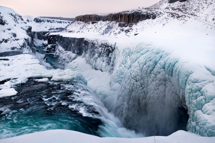 Gefrorener Wasserfall Gullfoss