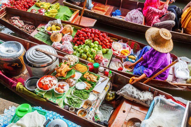 Marktfrau Saduak, Thailand