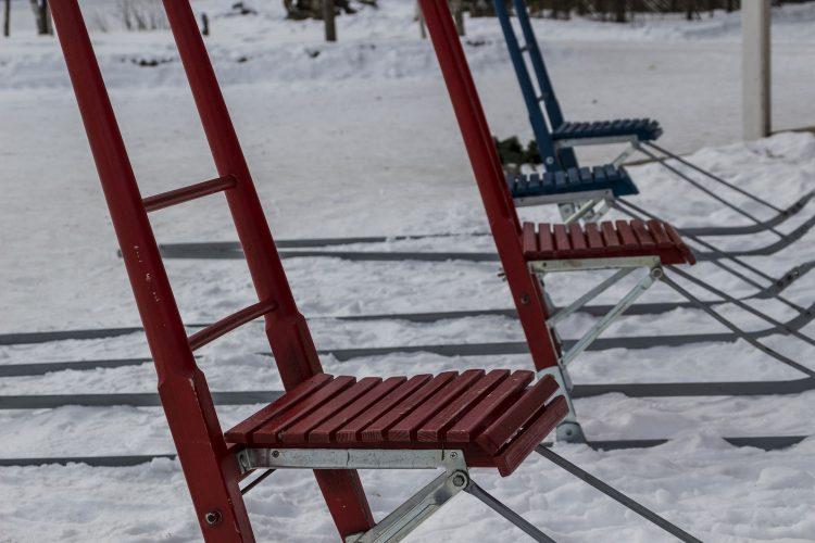 Traditionelle finnische Tretschlitten
