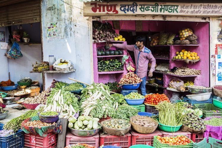 Gemüse-Verkäufer in Indien